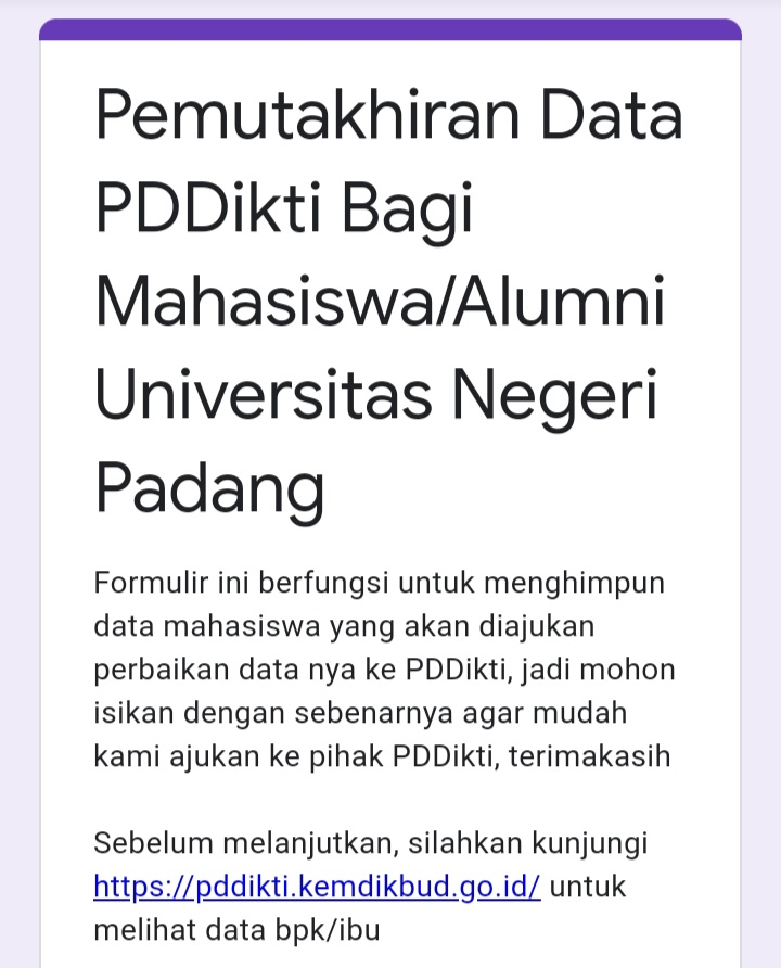 Penghimpunan Data Mahasiswa Universitas Negeri Padang yang Bermasalah di PDDikti